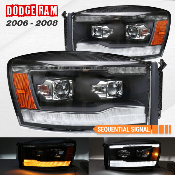Fits 2006 2008 Ram 1500 2500 3500 Projector Headlights Assembly LED DRL Black