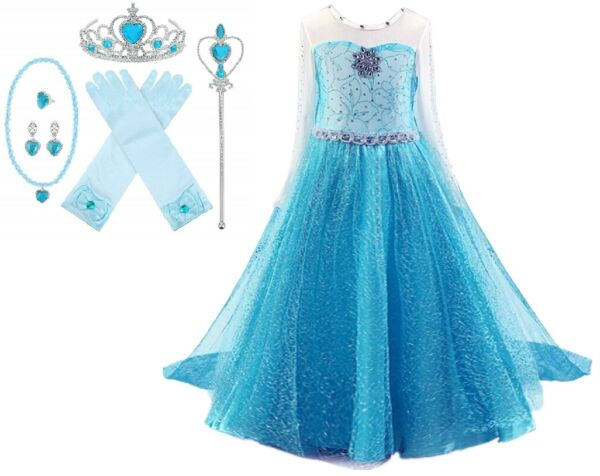 Snow Queen Long Sleeve Princess Elsa Frozen Costume Halloween Party Girls Dress $28.98