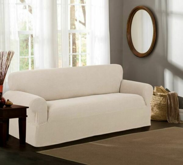 Maytex Stretch Reeves 1 Piece Sofa Furniture Cover Slipcover Natural $34.99