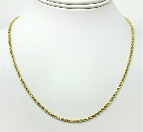 10K Solid Yellow Gold Necklace Gold Rope Chain 16quot; 18quot; 20quot; 22quot; 24quot; 26quot; 28quot; 30quot; $134.99
