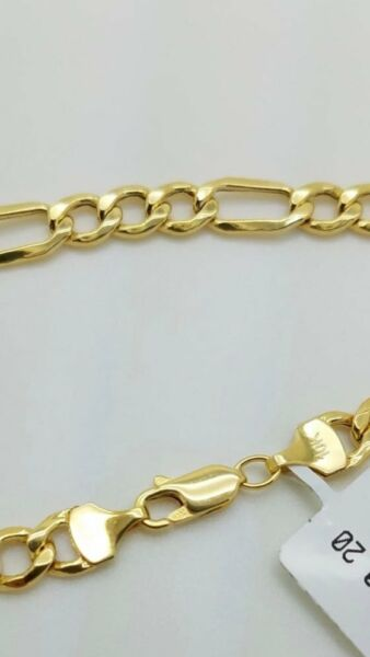 10K Solid Yellow Gold Figaro Chain Link Pendant Necklace 22quot;