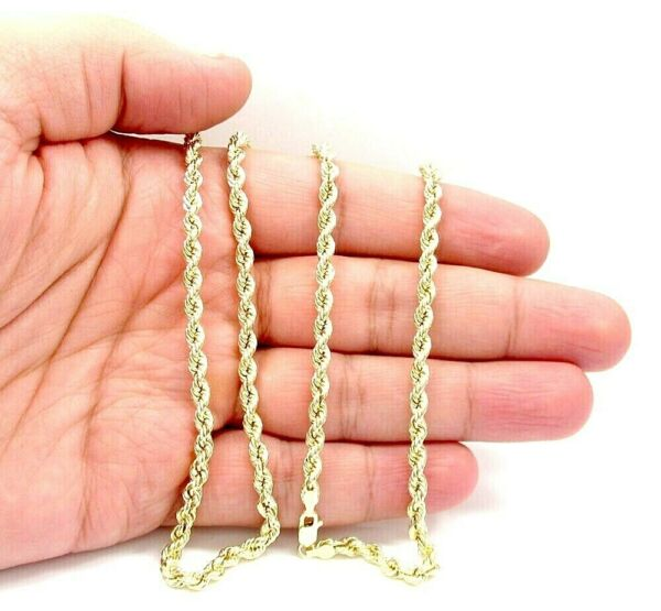 18K Solid Gold Rope Chain Necklace Men Women 3mm 8quot; 16quot; 18quot; 20quot; 22quot; 24quot; 30quot; $369.99