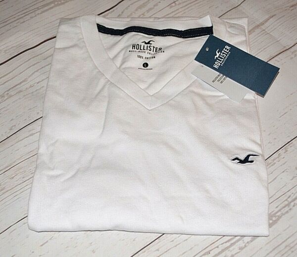 HOLLISTER MUST HAVE COLLECTION 100% COTTON MEN#x27;S V NECK TSHIRT WHITE MEDIUM NEW $14.99