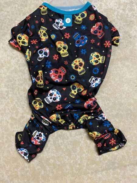 DAY of the DEAD Halloween quot;SUGAR SKULLquot; Pajamas PUPPY DOG SMALL $16.50
