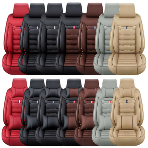 Luxury Leather Car Seat Covers Front Rear Full Set Cushion Protector Universal $82.99