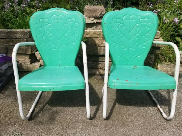 2 GREAT rare Vintage Stamped Metal Shell Lawn Patio Chairs HEART SCROLL DESIGN $134.99
