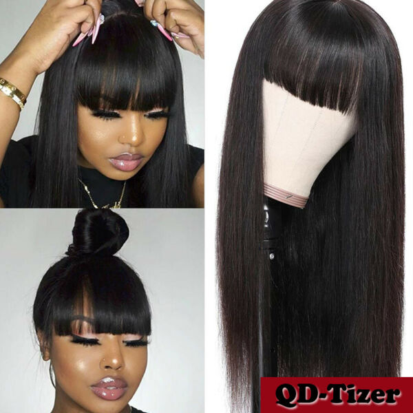 Synthetic Hair Wigs Full Neat Bangs No Lace Wig Heat Resistant Fiber Long Black