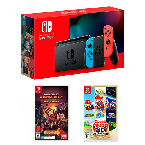 Nintendo Switch 32GB Console Minecraft Dungeons Super Mario 3D All Stars