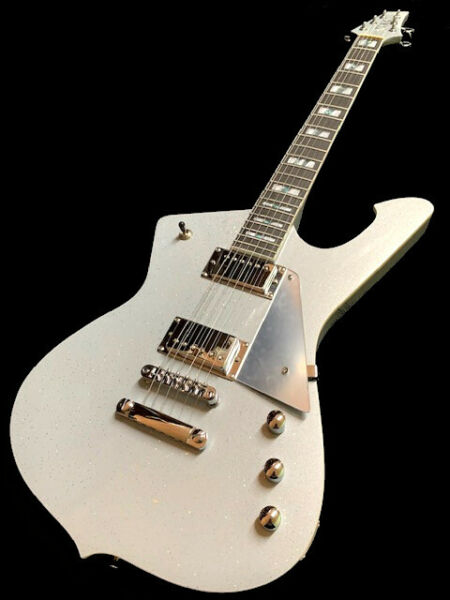 NEW SILVER SPARKLE ICEMAN STYLE 6 STRING SOLID BODY ELECTRIC GUITAR $220.00