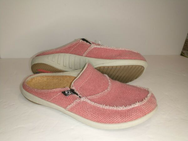 Spenco Siesta Canvas Slip On Mules Women#x27;s Size 8 peachy pink $27.80