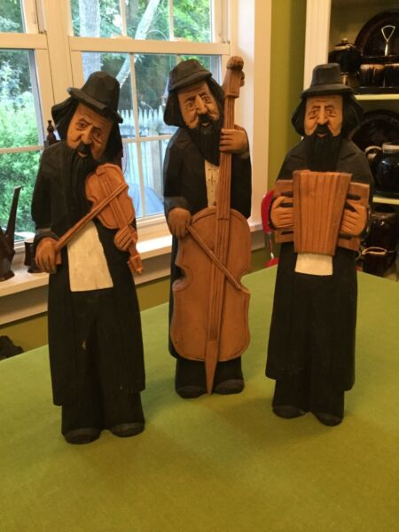 "Vintage Carved 3 Wood Russian Jewish Musicians 14"" By Rzezbiarst Drewnie Poland"
