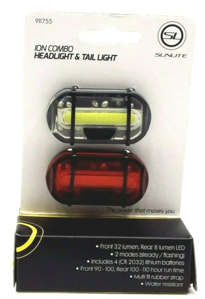 SUNLITE ION FRONT AND REAR BICYCLE LIGHTS $14.81
