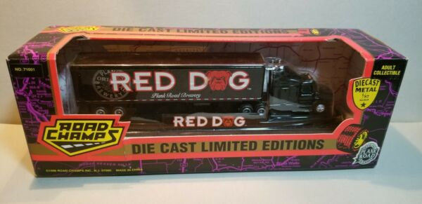 ROAD CHAMPS RED DOG TRACTOR amp; TRAILER 1:87 SCALE DIECAST METAL MODEL $49.95