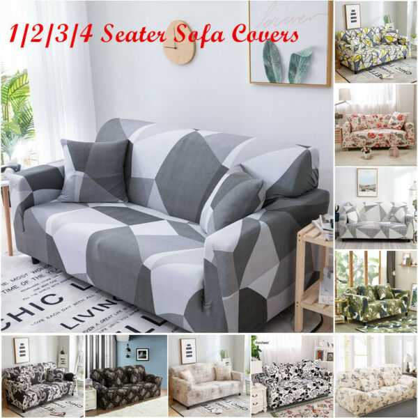 1 4 Seater US Stretch Sofa Covers Printed Slipcovers for Living Room $31.99
