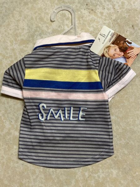 ELLEN DEGENERES Stripe quot;SMILEquot; T SHIRT Puppy Dog MEDIUM $16.50