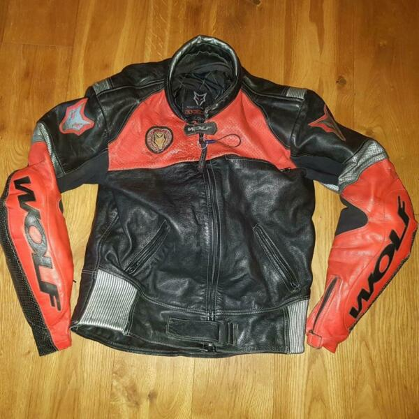 Wolf Leather Track Jacket Motorbike Biker 44quot; Red Black Lined GBP 34.95