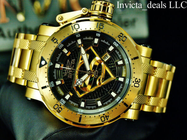 Invicta 52mm DC Comics Coalition Forces SUPERMAN AUTOMATIC Gold Tone SS Watch $139.99