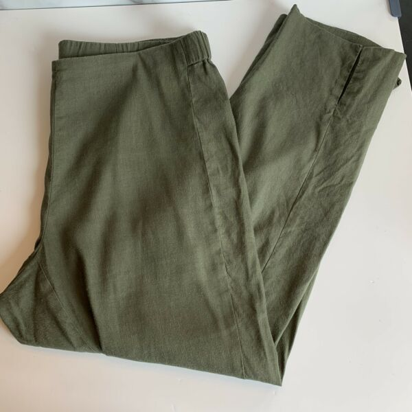 J Jill Linen Stretch Cropped Elastic Waist Olive Green Pull On Pants Size Medium $24.99
