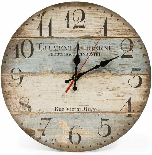 Retro Distressed Spliced Wood Non Ticking Round Wall Clock $23.99