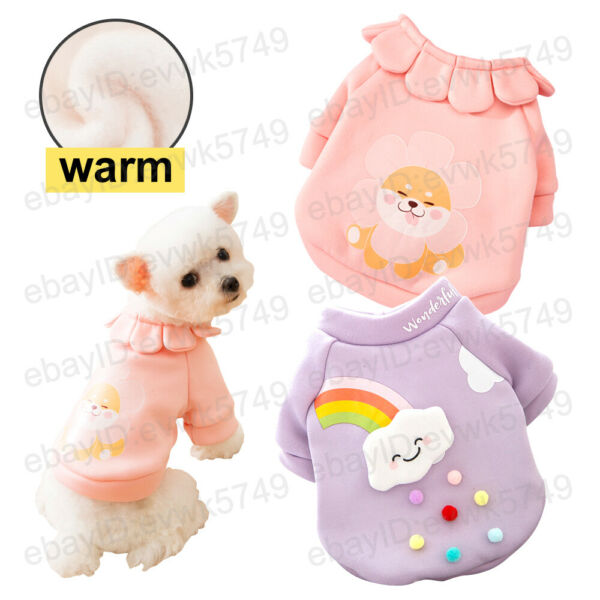 Dog Cat Pet Coat Sweater Puppy Clothes Cute Dog Rainbow Clouds Warm $8.88
