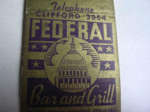 1940#x27;s Federal Bar amp; Grill 224 W LaFayette Blvd Detroit Mich MATCHCOVER MI