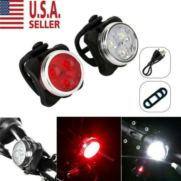 LED Bike Lights Set USB Rechargeable Headlight Taillight Caution Bicycle Lights $12.75
