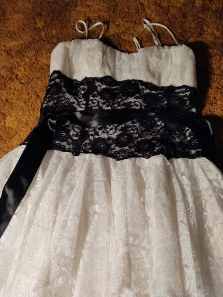 White And Black Prom Cocktail Dress