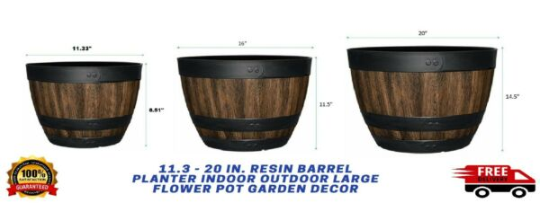 11.3 20 In. Resin Barrel Planter Indoor Outdoor Large Flower Pot Garden Decor $22.74