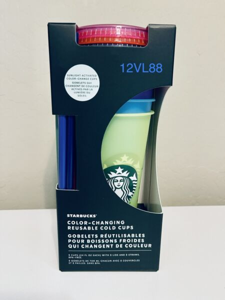 BRAND NEW Starbucks Reusable Cold Cups Confetti 5 Pack Summer 2021
