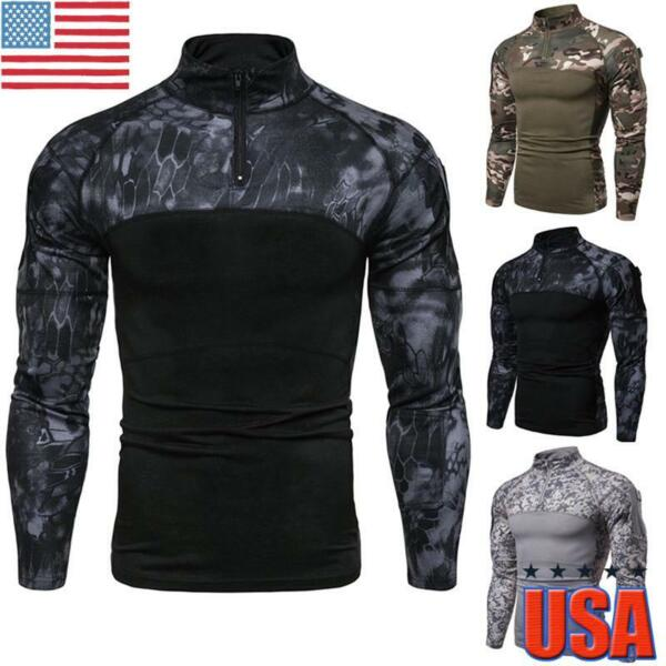 Mens Camo Military T shirt Tactical Long Sleeve Army Combat Shirt Fitness Blouse