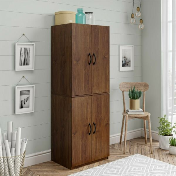 Tall wooden Storage Cabinet Kitchen Pantry Cupboard Doors Brown