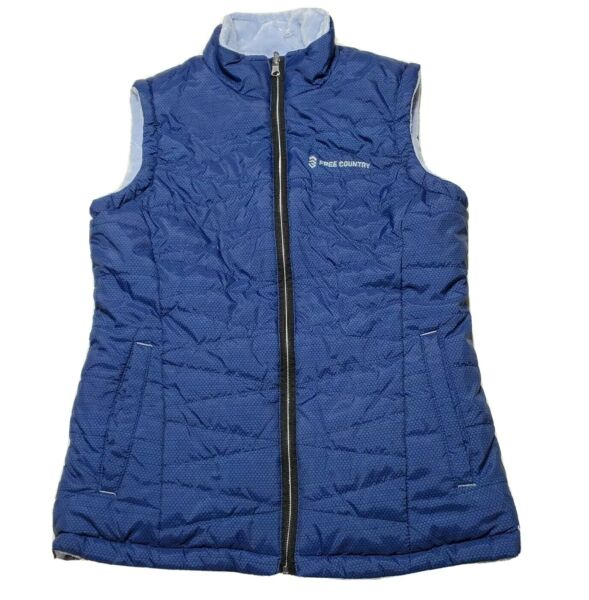 Free Country Quilted Puffer Vest Reversible Womens Small S Blue Faux Fur Fleece $18.74