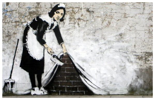 Banksy Maid Sweeping Dirt Under Curtain Poster Art Print 11x17 Limited Edition $12.00