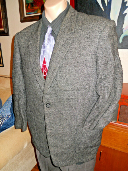Vng Rare 1950s Single Breasted Single Button Gray Nubby Sports Jacket Size 42S