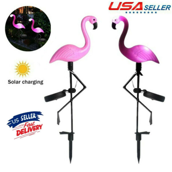 2X LED Flamingo Solar Lights Lantern Garden Lamp for Lawn Yard Patio Waterproof $20.95