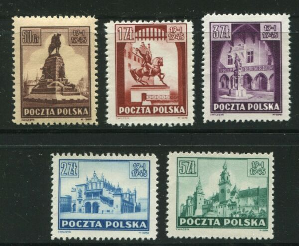POLAND 1945 LIBERATION ISSUE SCOTT 357 361 SCARCE IN PERFECT MNH QUALITY