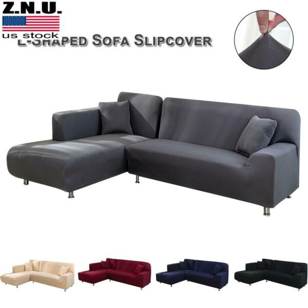 Stretch Sectional Couch Covers L Shaped Sofa Covers Softness Furniture Slipcover $29.19