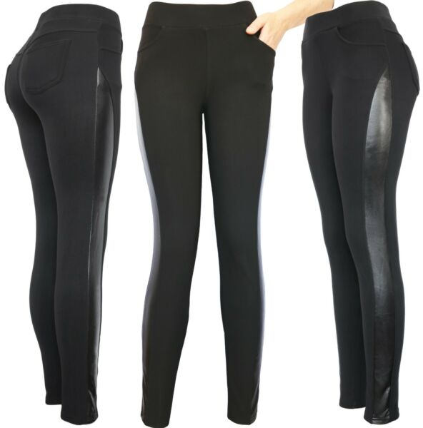 Winter Biker Sexy Faux Leather Stretch Fleece Lined Pants