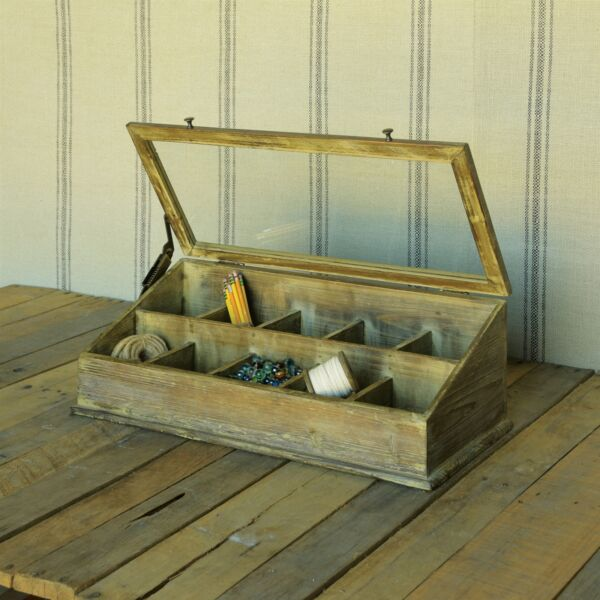 Tabletop Display Case Cubby Divided Rustic Wood Glass $125.00