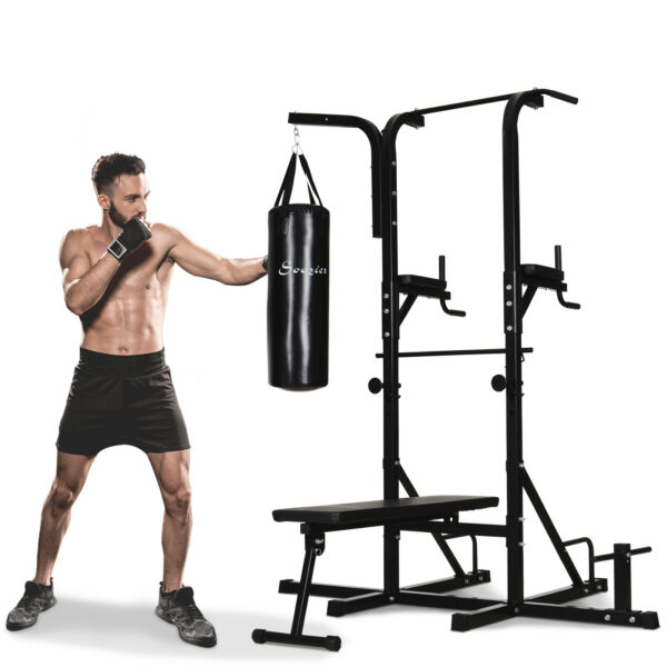 86quot; Multi Function Full Body Power Tower Home Gym with Punching Bag $259.99