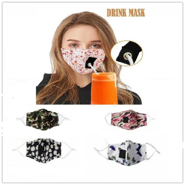 Adult Design Cotton Face Mask Drinking Mask W Hole For Straw Reusable USA Seller