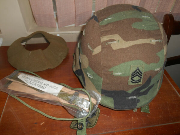 US ARMY ISSUE PASGT HELMET WITH WOODLAND CAMO COVER extra pcs $145.00