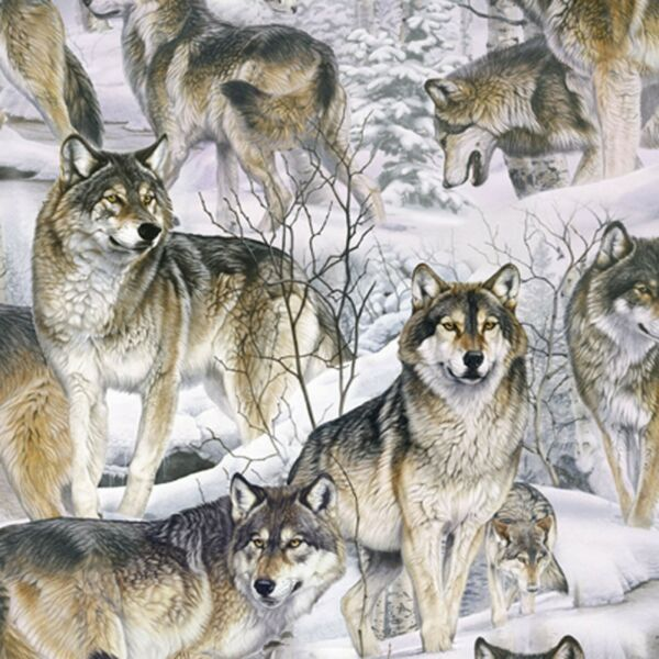 Fabric Wild Wolves Wolf in Snow on Cotton DTEXTILES 1 4 yard 2076