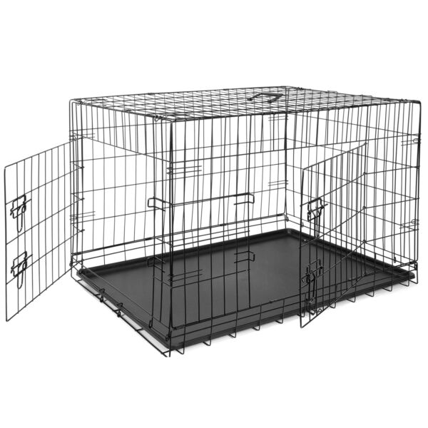 36quot; Folding Pet Cage Dog Crate Kennel Metal 2Door With Tray Black $37.99