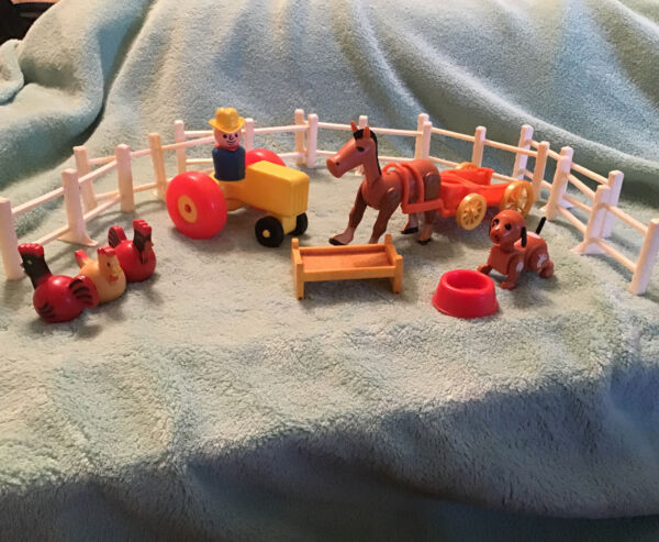 Vintage Little People Farm Huge Lot Farmer Horse Chickens Dog Tractor Buggy $34.99