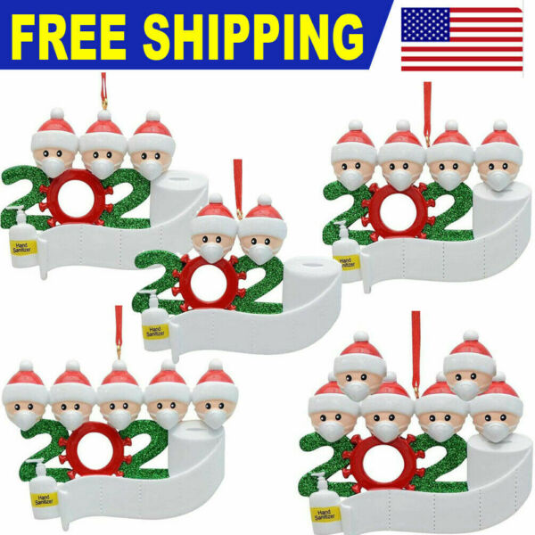 Personalized Christmas Hanging Ornament 2020 Mask Toilet Paper Xmas Family Gifts $3.99
