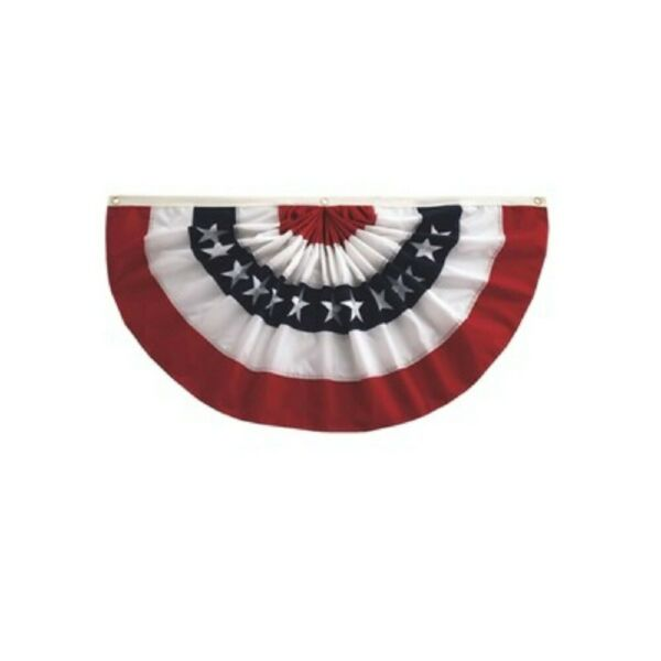 PATRIOTIC SMALL BUNTING PLEATED FAN 1.5#x27; X 3#x27; NEW IN PACK