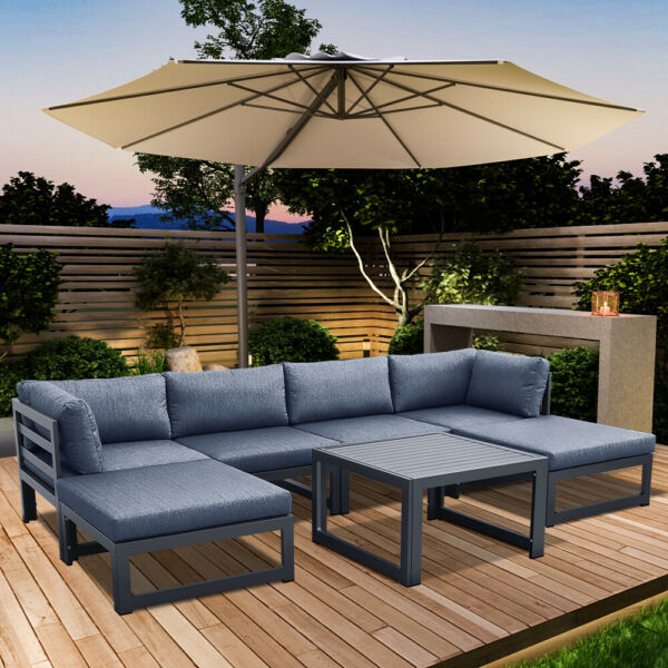 Outdoor Patio Sofa Set Aluminum alloy Sectional Furniture Couch W Cushion