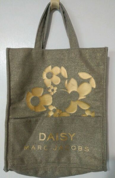 Marc Jacobs Daisy Tote Bag Burlap Cloth Gold Shopping Beach Carry On Gym Travel