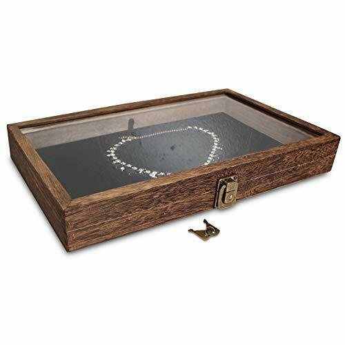 Wood Glass Top Jewelry Display Case Wooden Jewelry Tray for Collectibles Home $26.74